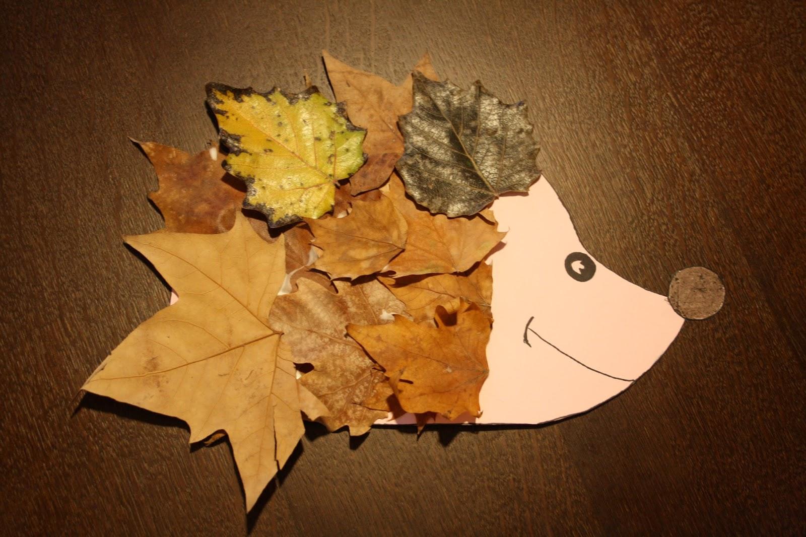 Manualidad: Erizo hecho con hojas