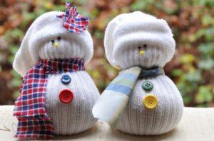 muñeco de nieve de calcetin